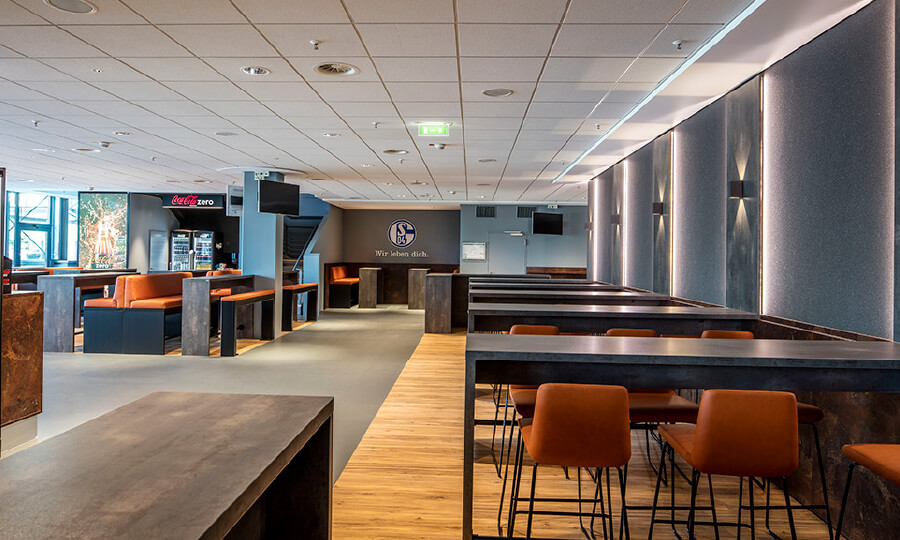 Parador design flooring in the largest hospitality area of the VELTINS Arena